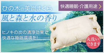 ひの木の美炭まくら「風と森と水の香り」ヒノキの炭の清浄効果で快適な睡眠環境を!